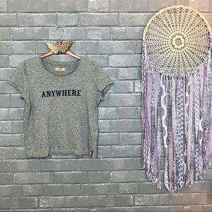 """madewell // gray striped """"anywhere"""" cropped tee xs"""